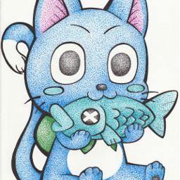 fairytail art cat happy pointillism
