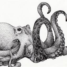 octopus animal art pointillism