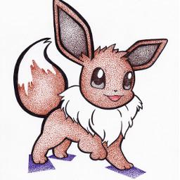 pokemon eevee art pointillism
