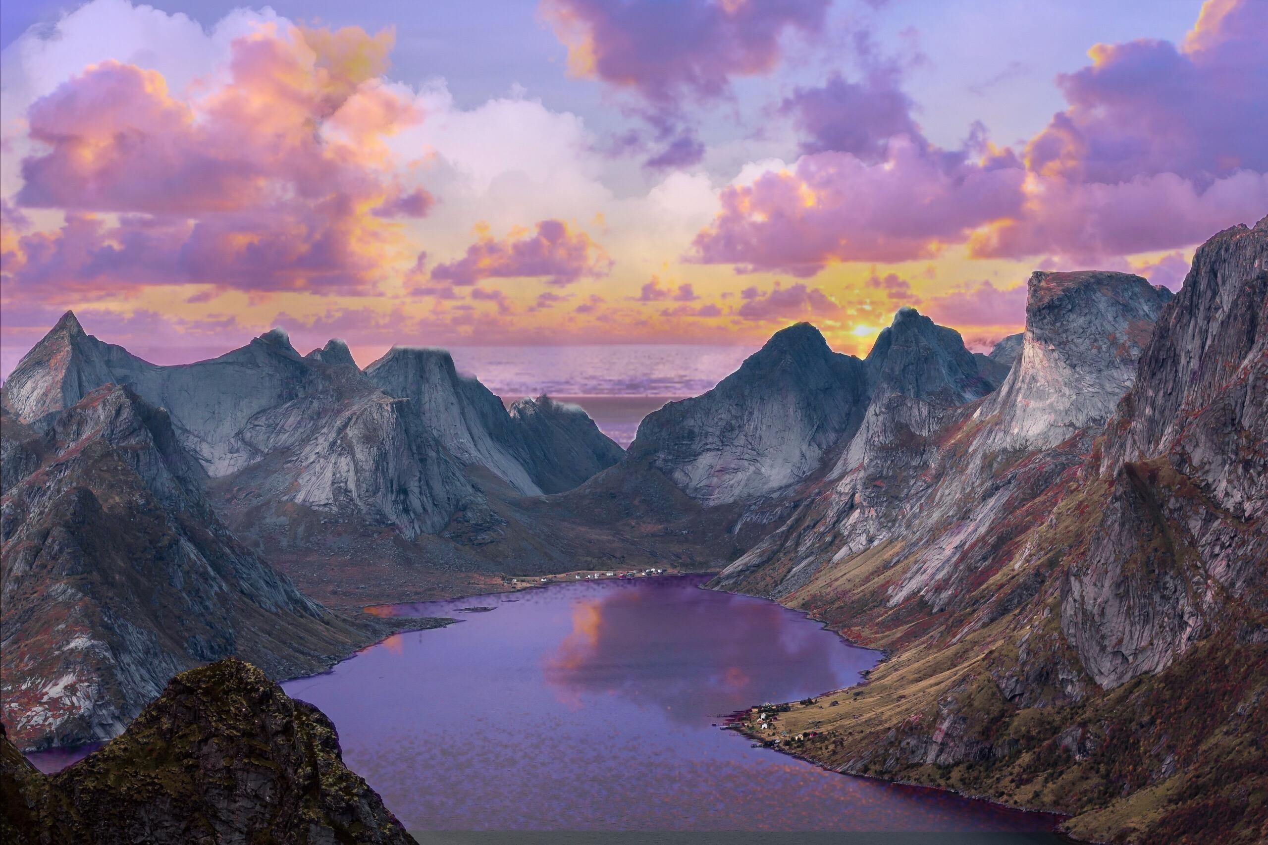 #freetoedit #iaminthischallenge #purple #sunset #sun #cloud #clouds #mountains #water #beautiful #voteforvote