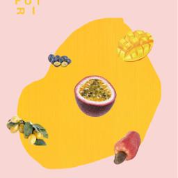 collage illustration fruits shapes color