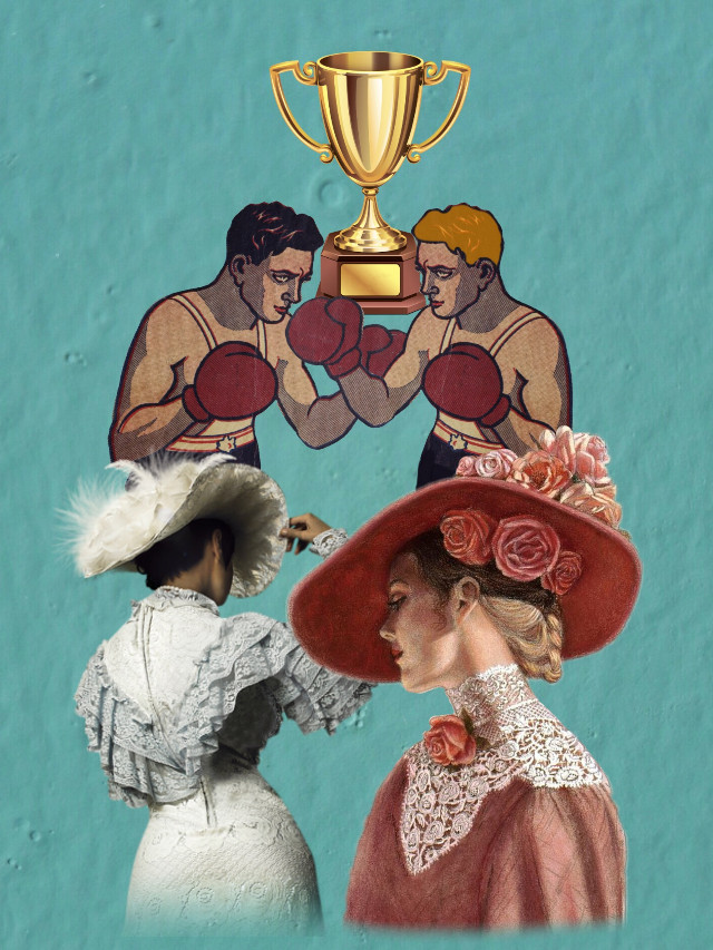 #boxing #sport #lady #fighting #retro #vintage #poster #trophy