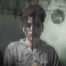 freetoedit forest girl isolation black