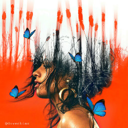 womanportrait doubleexposure bluebutterfly myedit freetoedit eccelebratingwomen