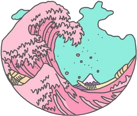 waves pink water blue pretty freetoedit
