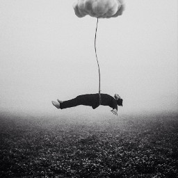 edited surreal dark floating levitate