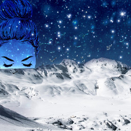 freetoedit girl mountain ice night nightveiw minimalism remixit