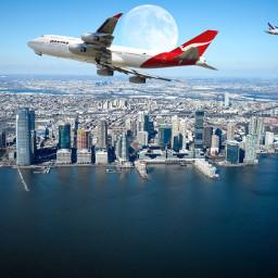 freetoedit moon skyline airplanes