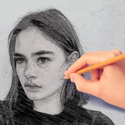 freetoedit drawing sketchedit sketcheffect girl