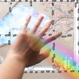 window cloud rainbow freetoedit