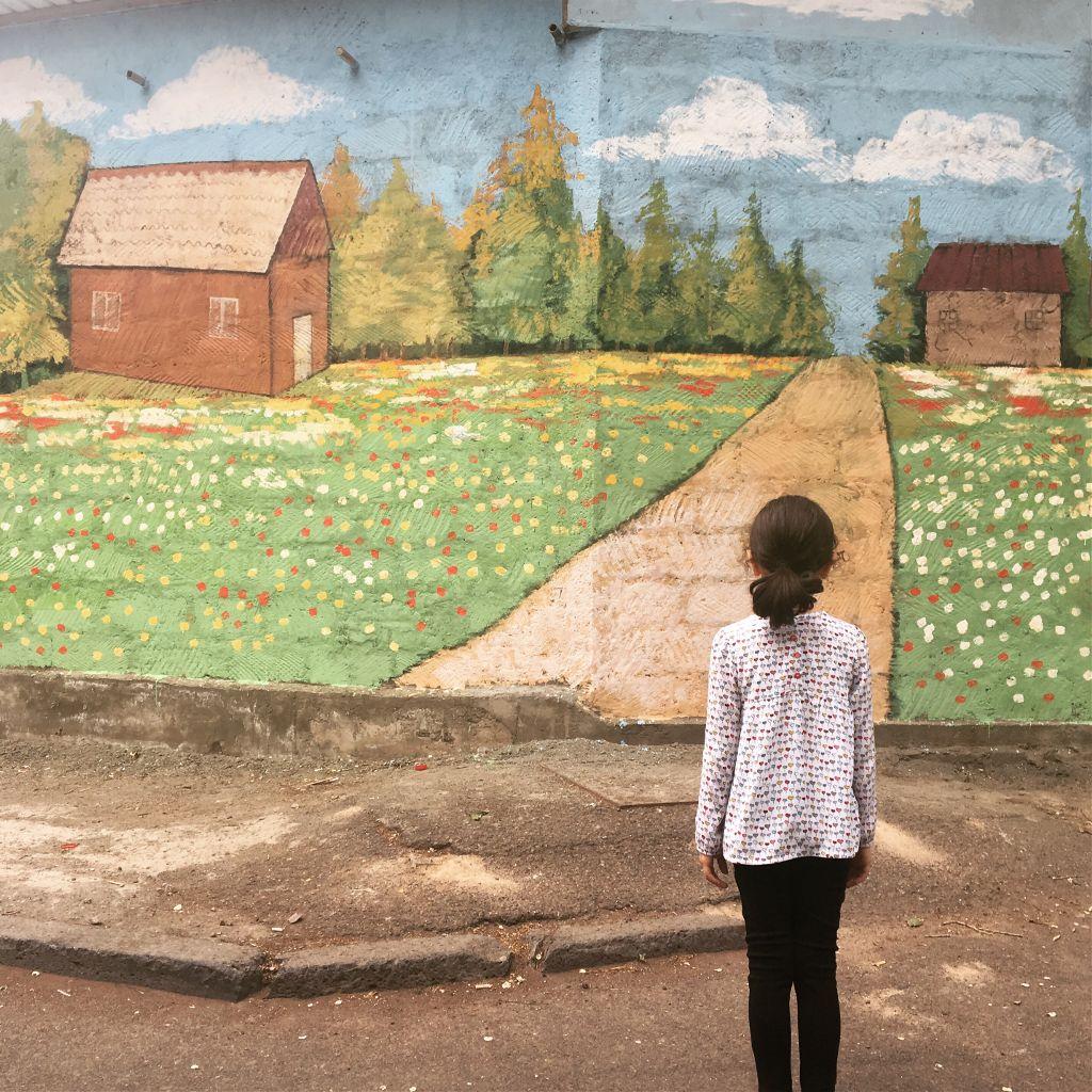 freetoedit painting art wall outside girl child alone...
