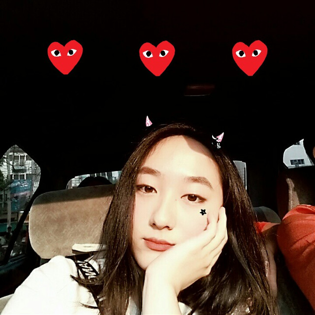 THREE HEARTS  #freetoedit #commedesgarcons #sticker #heart #cute #love #pretty #car #selfie #sun #goldenhour #life #beautiful #beauty #daily
