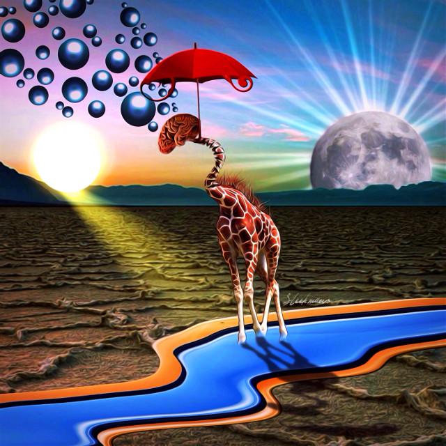 Thoughts on the sunnyside. #freetoedit #happy #happythoughts #behappy #interesting #art #surreal #surrealistic #surrealism #surrealart #giraffe #umbrella