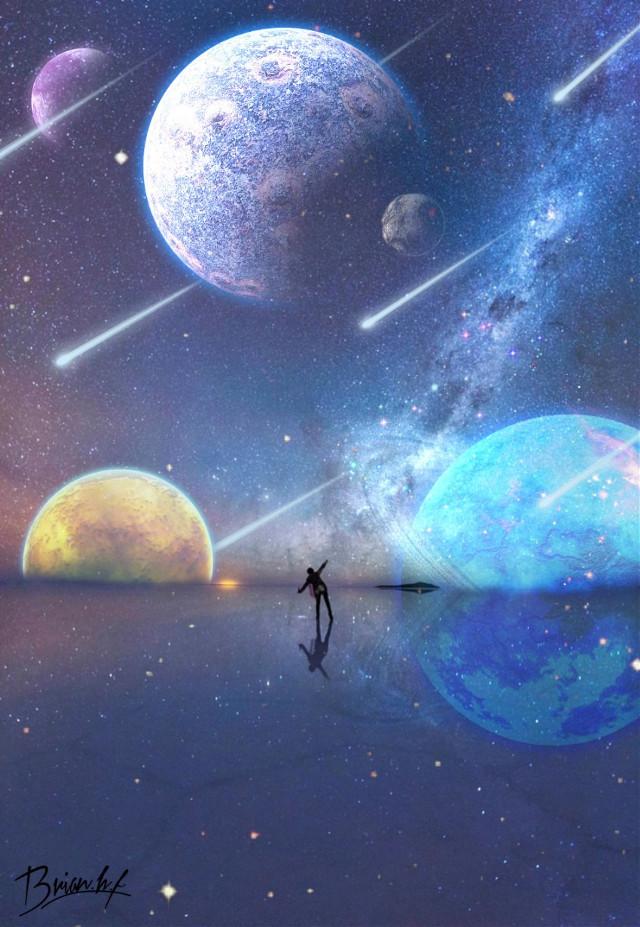 #freetoedit #estrellas #cometas #estrellafugas #galaxia #espacio #universo #planetas #persona #silueta #reflejo @brian_galaxy  #srcglittergalaxy