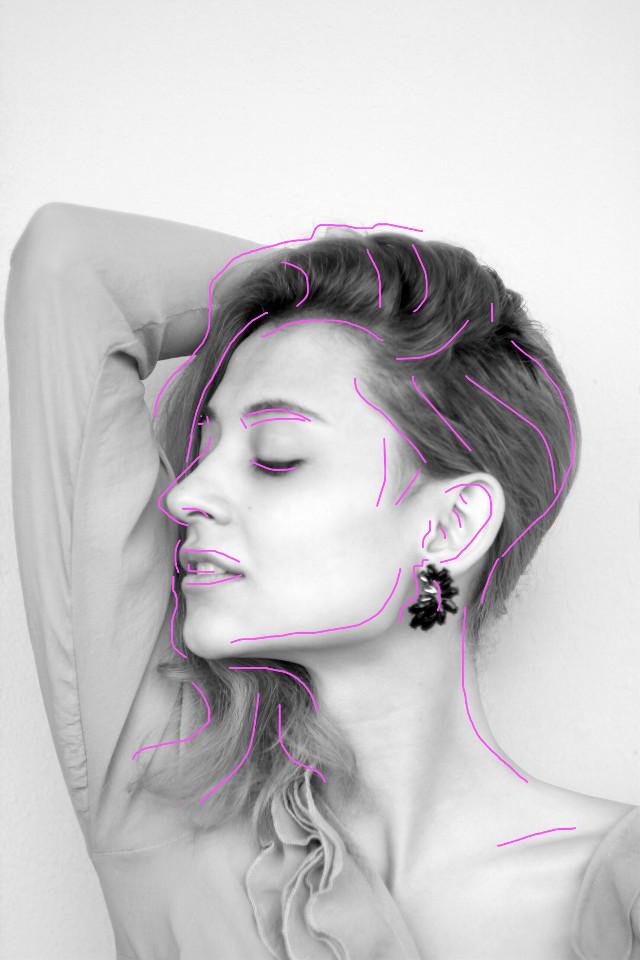 #freetoedit #woman #lines #colorpop #neonlines #neon #pink