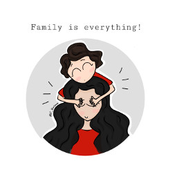 family familylove love care mother sister children drawing doodle art adorable freetoedit