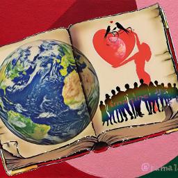 earth silhouette oldbook loveheart freetoedit srcearthhour