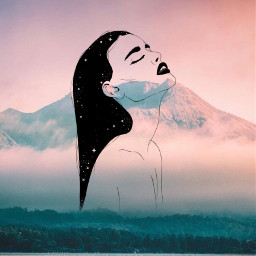 freetoedit outline girloutline mountains galaxyhair