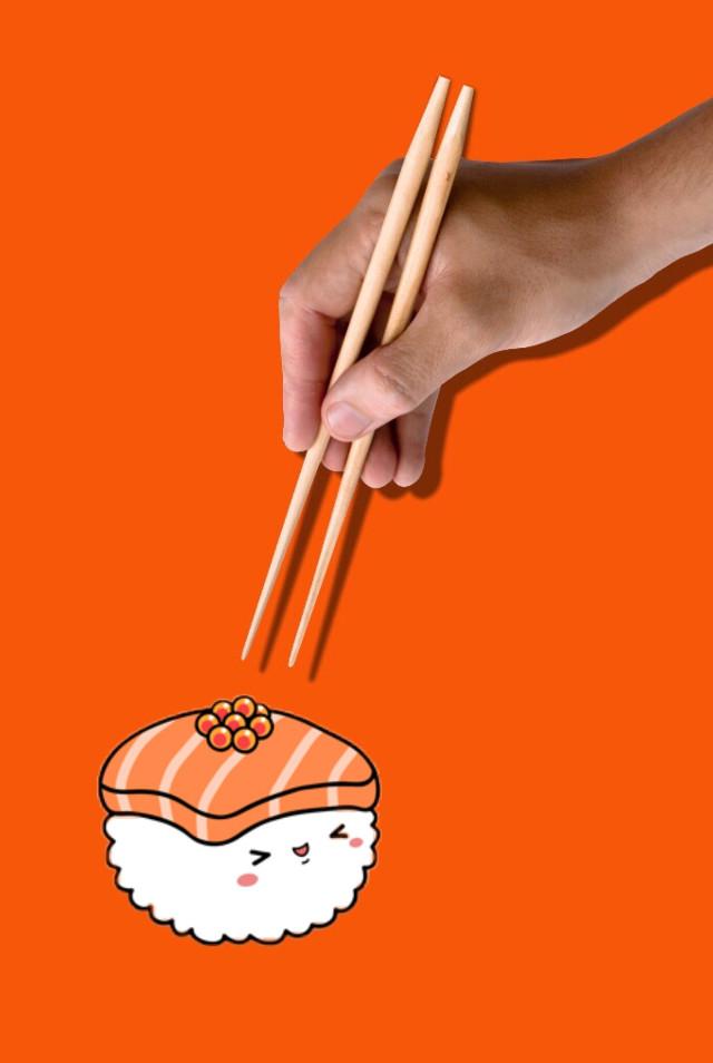 #freetoedit #sushi #cute #kawai #food #chopsticks #chineseculture #orange #daybeforeeaster