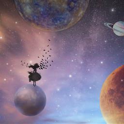 freetoedit birds girly galaxyedit planets
