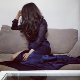 blue dress hair longhair