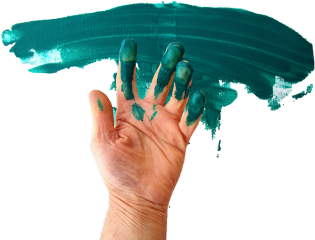 hand teal paint fingers palm freetoedit