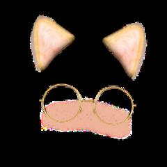cat cute blush glasses ears freetoedit