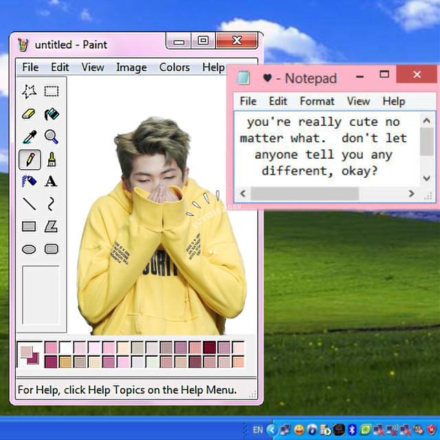 #freetoedit #namjoon #kimnamjoon #windows #windowsxp #rm #bts #yellow #bangtanboys #beyondthescene #cute #computer #desktop #tabs #paint #notepad