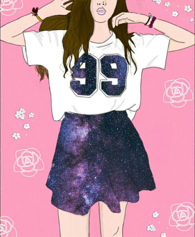 #freetoedit #girl #cool #myart #pink #galaxy #koreangirl #koreanstyle