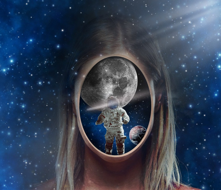 #freetoedit  #woman #face #hole #stars #planets #surrealism #drawing #picsart #galaxy #astro #astronaut #moon