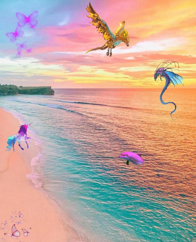 Land of the magic 🦄🌈 #freetoedit #dragon #unicorn #magic #beach #background