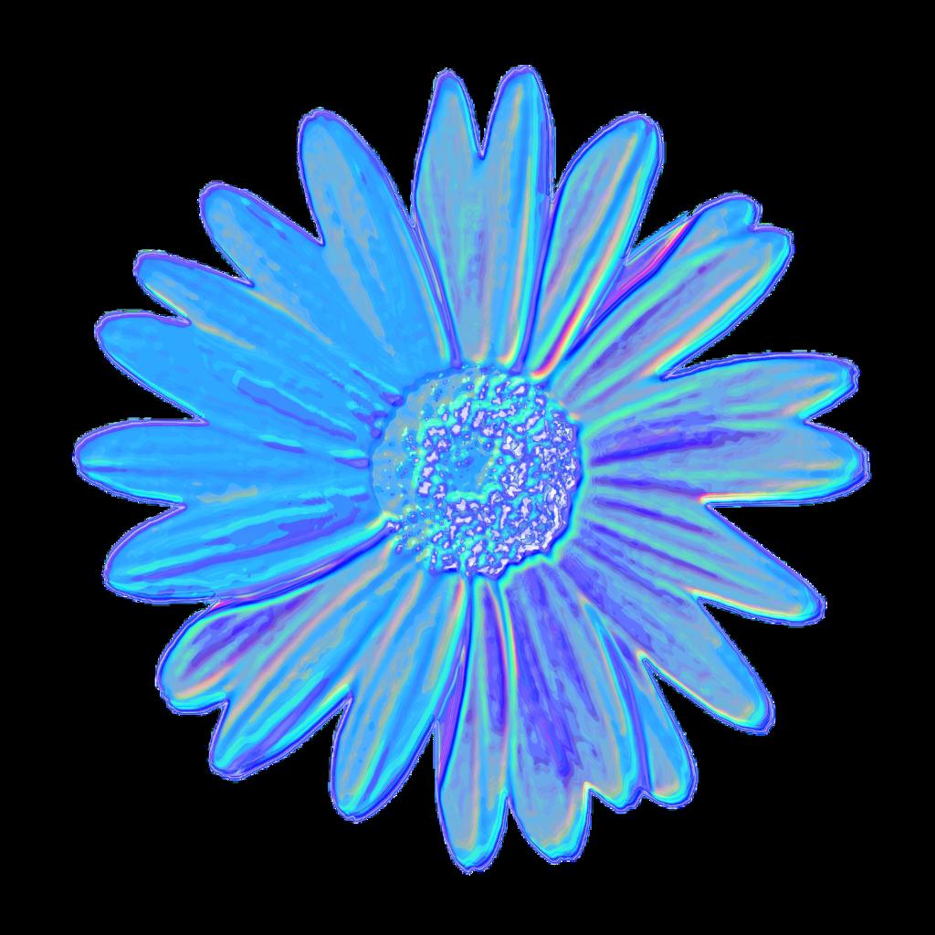 Blue Daisy Flower Tumblr Aesthetic Vaporwave Iridescent