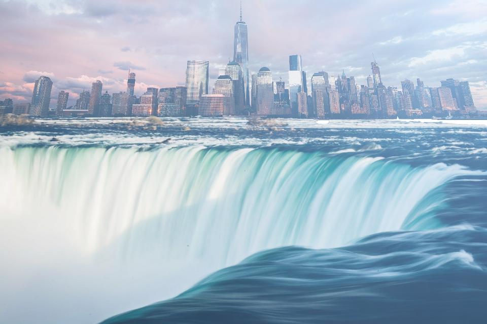 #FreeToEdit 2 Op's by Unsplash - #edit #waterfall #town #sky #blue #water #skyline #city