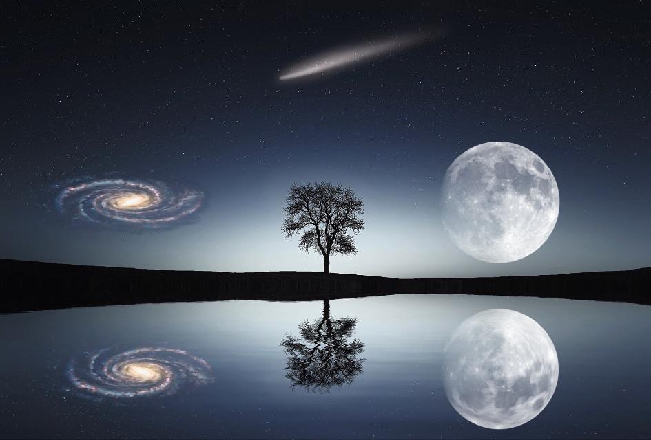 #freetoedit #galaxy #meteor #moon #reflection