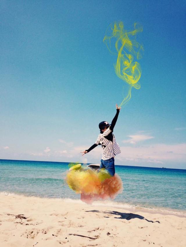 #freetoedit #floating #flying #magic #pointing #beachjump #beach #sand #ocean #sea #water #yellowsmoke #yellowcloud #yellow #cool