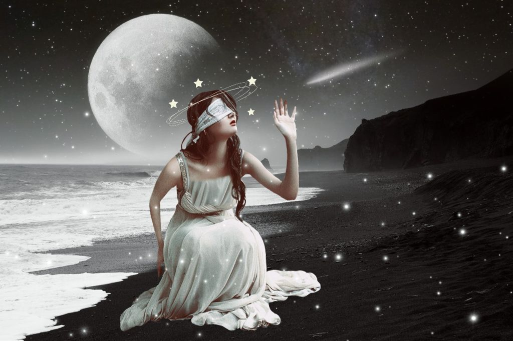 #freetoedit #woman #beach #surreal #doubleexposure #night #stars #picsart #dress #vipbrushtool #surrealism  op: unsplash