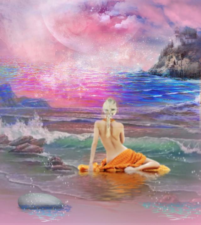 #freetoedit #woman #beach #sky #beautiful #colorful #myedit #madewithpicsart