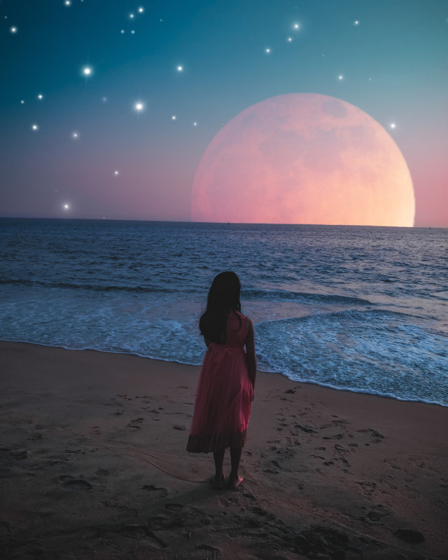 #freetoedit #moonrise #stars #beach #girl @illusioner__