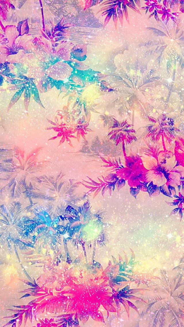 #freetoedit #glitter #sparkle #flowers #tropical #summer #pattern #galaxy #pastel #hawaii #background #wallpaper #lockscreen #remixit
