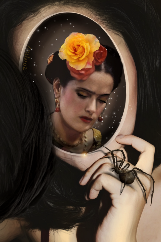 Hark!! Who goes there? It is I, the Spider. My ambition is to be the spider in the World Wide Web. Don't be scared. 💋💛🤗 (Thank you @moonsun999 for the fte blank face portrait!! It was perfect for this edit.) 💛🙌 #itsaboutFrida #frida #fridakahlo 💋