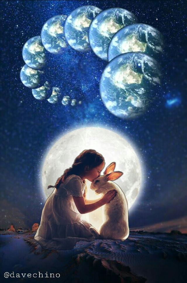 #intothegalaxy #sky #galaxy #girl #fullmoon #rabbit @freetoedit @picsart #surreal #surrealist #myedit