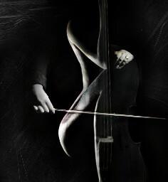 cello woman sleek man chalk