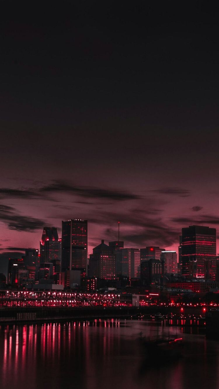 City aesthetic tumblr black red night sky photography