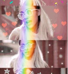 arianagrande rainbow confetti hearts sparkle