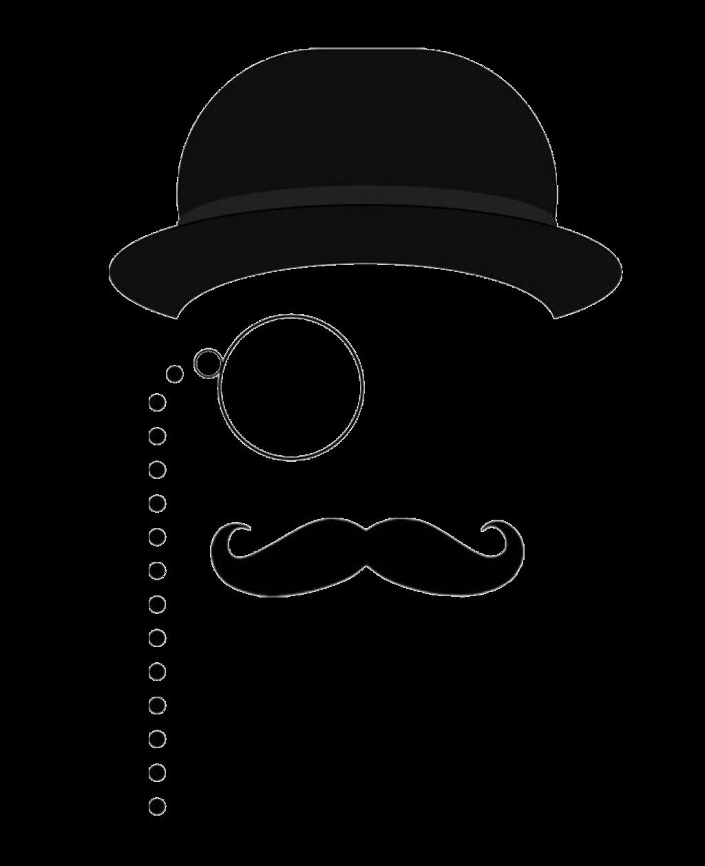 mustache hat bowlerhat monocle silhouette man blackandw...