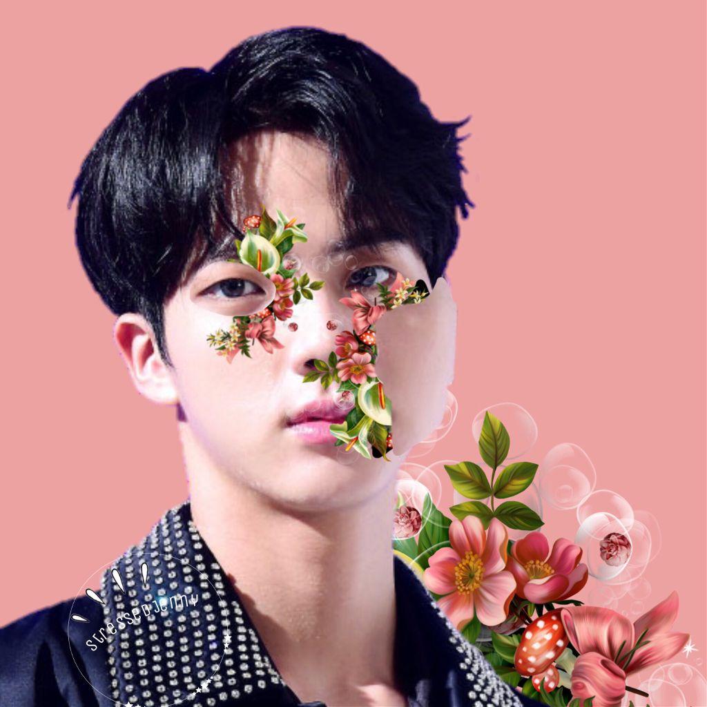 Flower boy.  Tried something new, tell me what you think!  #freetoedit #jin #kimseokjin #bts #bangtanboys #beyondthescene #flower #pink #green