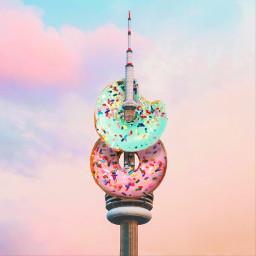 doughnut surreal summer building sky freetoedit