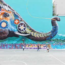 freetoedit elephant streetart graffiti colorful