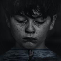 ocean boy sad hand drowning helpless
