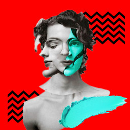 freetoedit red interesting art faces